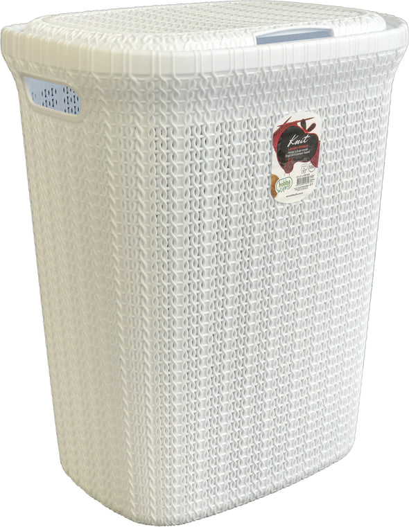 #W08-1076-WHT Knit Style Laundry Hamper 55 Liters - White (case pack 2 pcs)