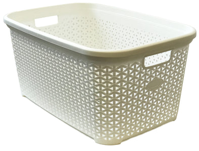 #W08-1094-SF.WHT Rattan Style Laundry Basket 50 Liters - Soft White (case pack 12 pcs)