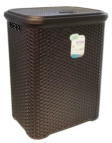 #W08-1106-DK.BRW Rattan Style Laundry Hamper 55 Liters - Dark Brown (case pack 2 pcs)