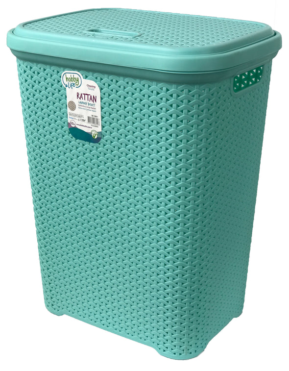 #W08-1106-PS.GRN Rattan Style Laundry Hamper 55 Liters - Pastel Green (case pack 2 pcs)