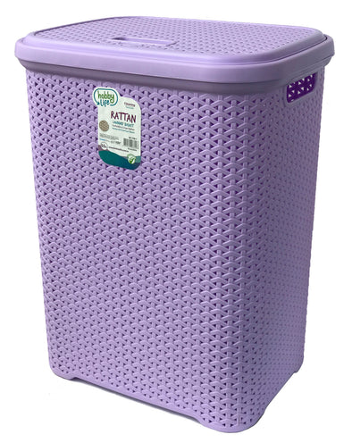 #W08-1106-PS.LLC Rattan Style Laundry Hamper 55 Liters - Pastel Lilac (case pack 2 pcs)