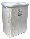 #W08-1106-WHT Rattan Style Laundry Hamper 55 Liters - White (case pack 2 pcs)