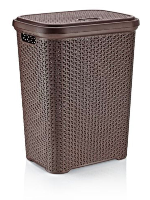 #W08-1109-DK.BRW Rattan Style Laundry Hamper 35 Liters - Dark Brown (case pack 2 pcs)