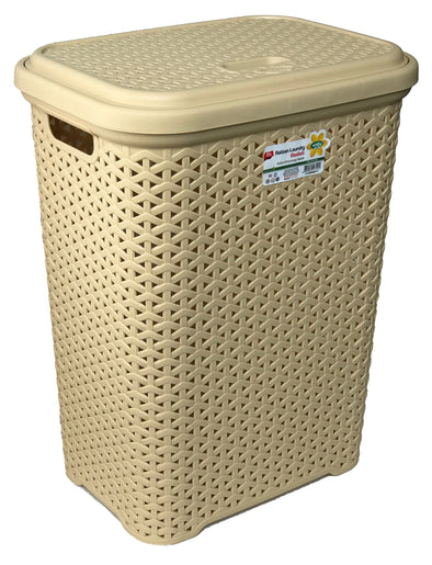 #W08-1109-D.IVY Rattan Style Laundry Hamper 35 Liters - Dark Ivory (case pack 2 pcs)