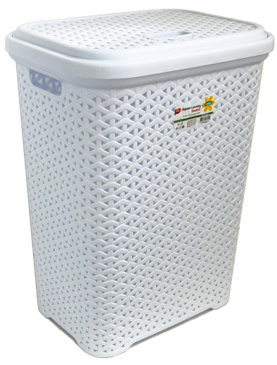 #W08-1109-WHT Rattan Style Laundry Hamper 35 Liters - White (case pack 2 pcs)