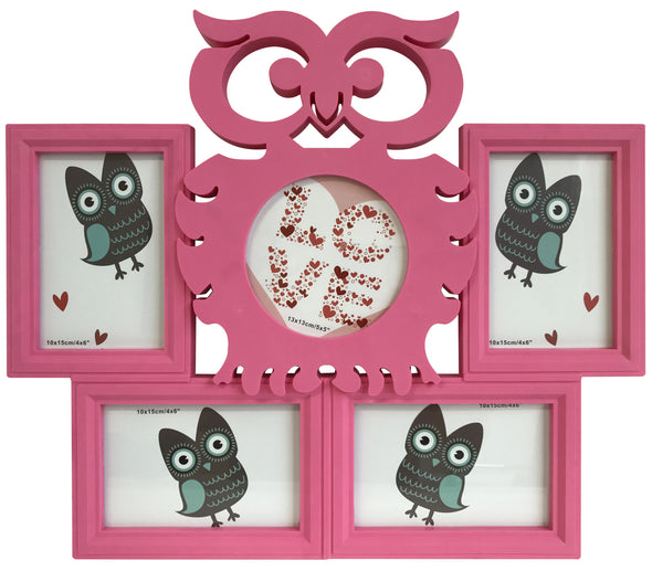 #W26507 Owl Collage Picture Frame - Asst Colors