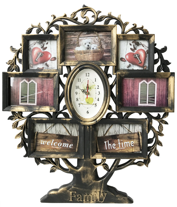 #W26509 Family Tree Collage Picture Frame w/clock - Asst Colors
