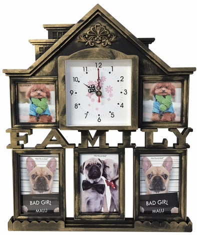 #W26511 Family House Collage Picture Frame w/Clock - Asst Colors (case pack 12 pcs)