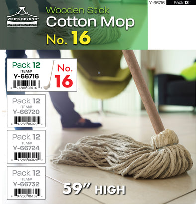 "#Y-66716 Cotton Mop No.16 w/Wooden Stick 59""H (case pack 12 pcs)"