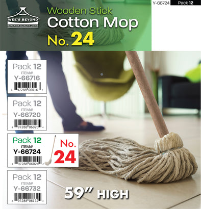 "#Y-66724 Cotton Mop No.24 w/Wooden Stick 59""H (case pack 12 pcs)"