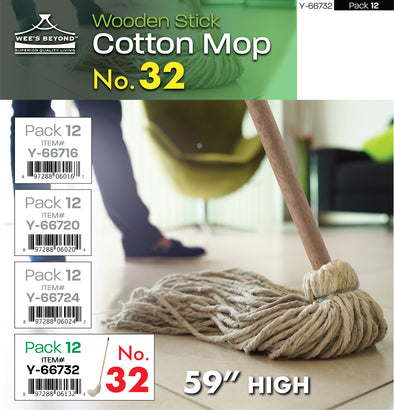 "#Y-66732 Cotton Mop No.32 w/Wooden Stick 59""H (case pack 12 pcs)"