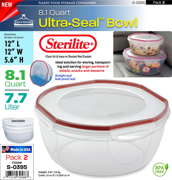 #S-0395 Sterilite Plastic Ultra¥Sealª 8.1 Quart Bowl (case pack 2 pcs)