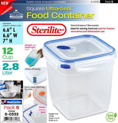 #S-0333 Sterilite Plastic Ultra¥Sealª 12 Cup Square (case pack 6 pcs)