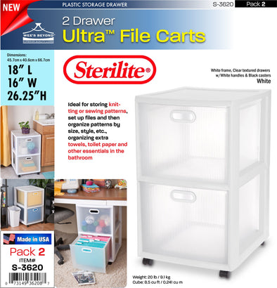 #S-3620 Sterilite Plastic Ultraª 2 Drawer Cart (case pack 2 pcs)