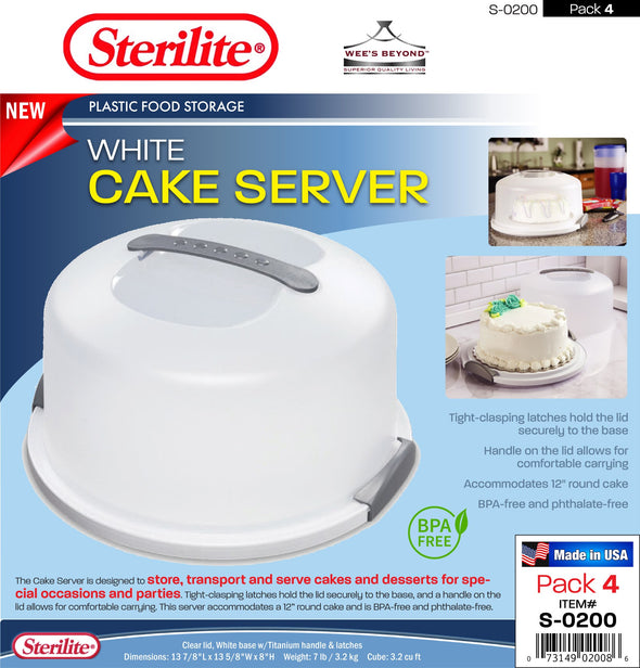 #S-0200 Sterilite Plastic White Cake Server w/Lid (case pack 4 pcs)