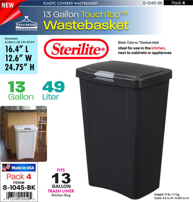 #S-1045-BK Sterilite Plastic 13 Gallon TouchTopª Wastebasket- Black (case pack 4 pcs)