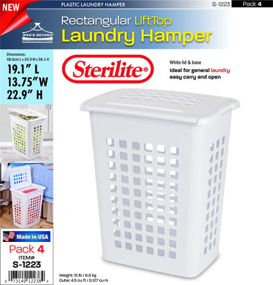 #S-1223 Sterilite Plastic Rectangular LiftTop Laundry Hamper (case pack 4 pcs)