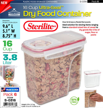 #S-0316 Sterilite Plastic Ultra¥Sealª 16.0 Cup Dry Food Container (case pack 6 pcs)