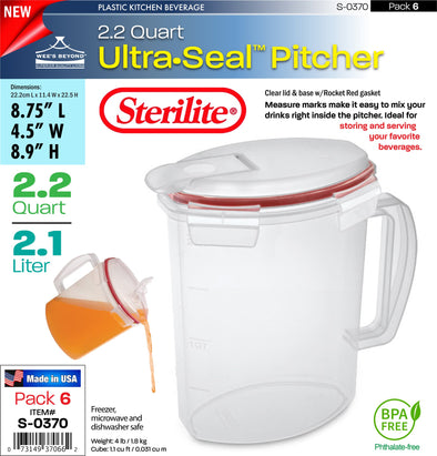 #S-0370 Sterilite Plastic Ultra¥Sealª 2.2 Quart Pitcher (case pack 6 pcs)