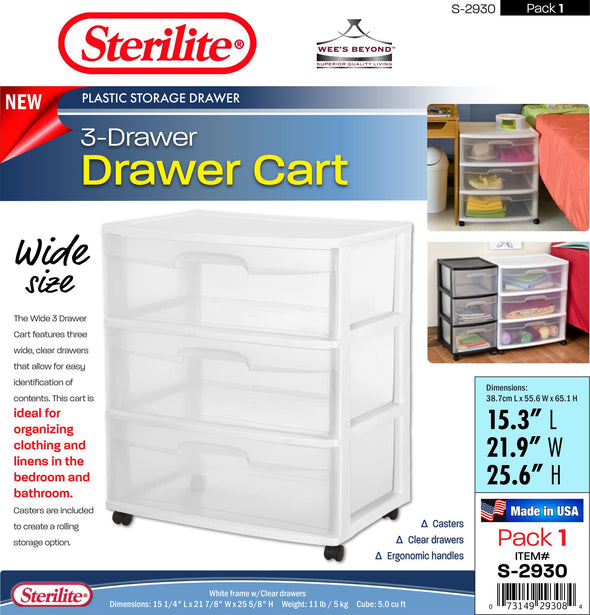 #S-2930-WH Sterilite Plastic Wide 3 Drawer Cart White