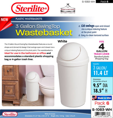 #S-1083-WH Sterilite Plastic 3 Gallon SwingTop Wastebasket- White (case pack 6 pcs)