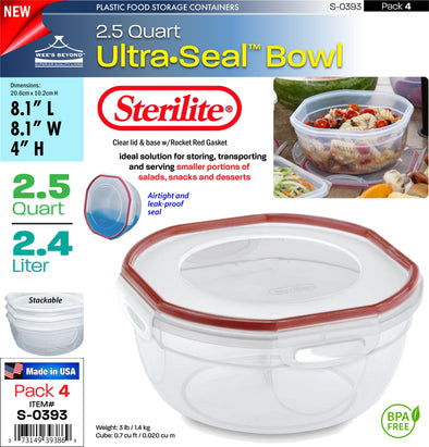 #S-0393 Sterilite Plastic Ultra¥Sealª 2.5 Quart Bowl (case pack 4 pcs)