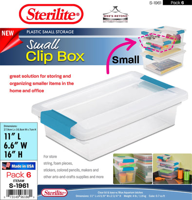 #S-1961 Sterilite Plastic Small Clip Box (case pack 6 pcs)