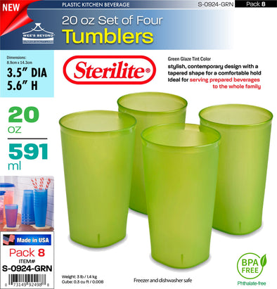 #S-0924-GRN Sterilite Plastic Set of Four 20 Ounce Tumblers Green (case pack 8 pcs)
