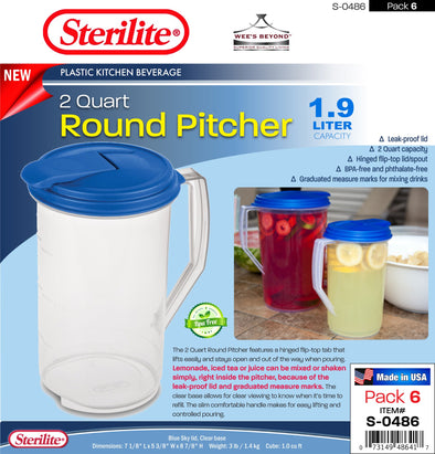 #S-0486 Sterilite Plastic 2 Quart Round Pitcher (case pack 6 pcs)