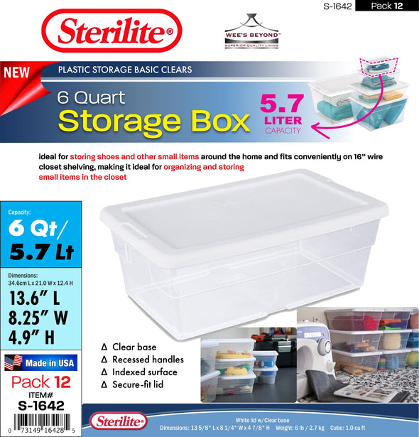 #S-1642 Sterilite Plastic 6 Quart Storage Shoe Box (case pack 12 pcs)