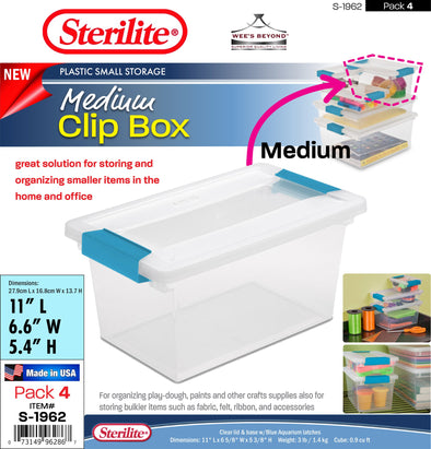 #S-1962 Sterilite Plastic Medium Clip Box (case pack 4 pcs)