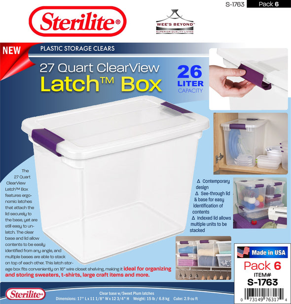 #S-1763 Sterilite Plastic 27 Quart ClearView Latch Box (case pack 6 pcs)