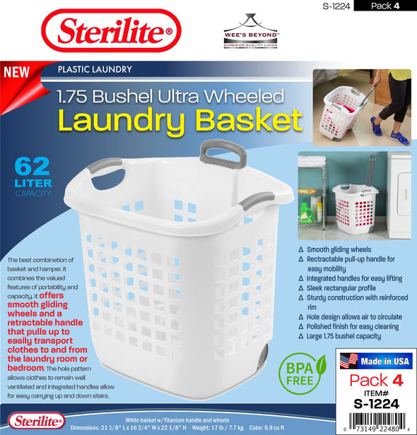 #S-1224 Sterilite Plastic Wheeled Laundry Basket w/Retractable Handle (case pack 4 pcs)