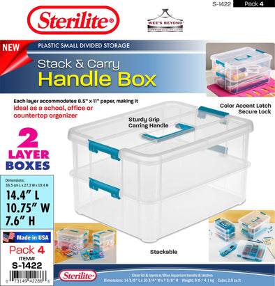 #S-1422 Sterilite Plastic 2-Layer Stack & Carry Storage Box (case pack 4 pcs)