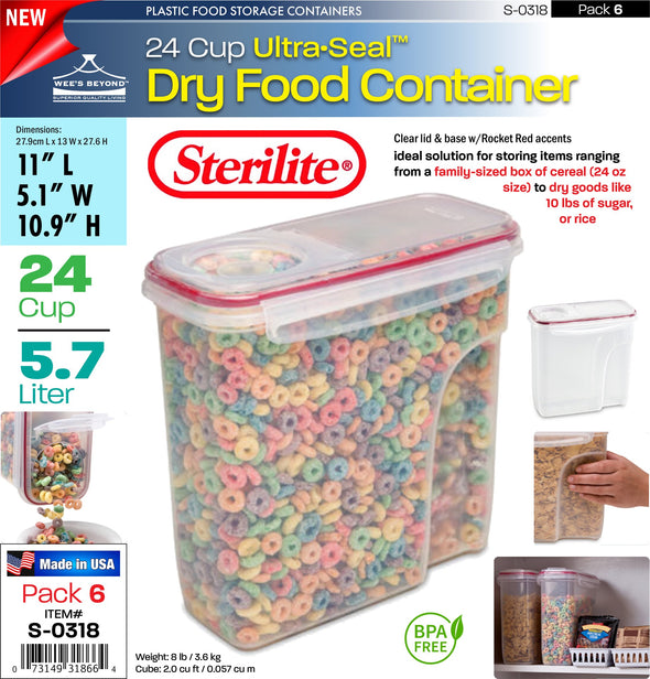 #S-0318 Sterilite Plastic Ultra¥Sealª 24.0 Cup Dry Food Container (case pack 6 pcs)