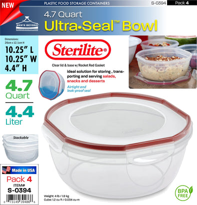 #S-0394 Sterilite Plastic Ultra¥Sealª 4.7 Quart Bowl (case pack 4 pcs)