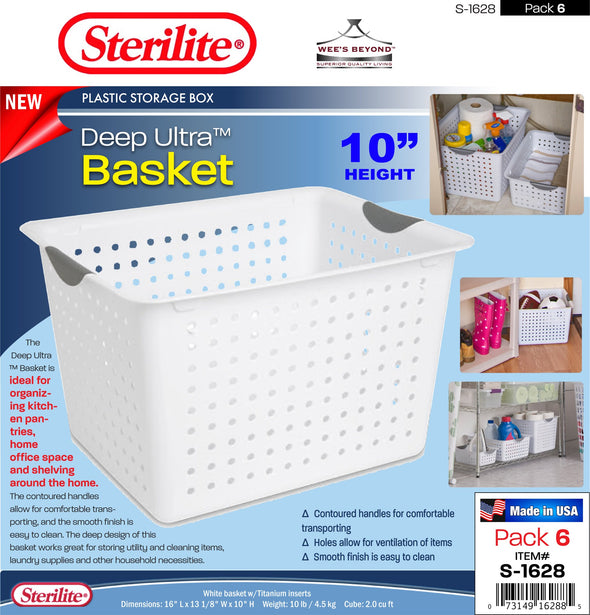 #S-1628 Sterilite Plastic Deep Ultra Basket (case pack 6 pcs)