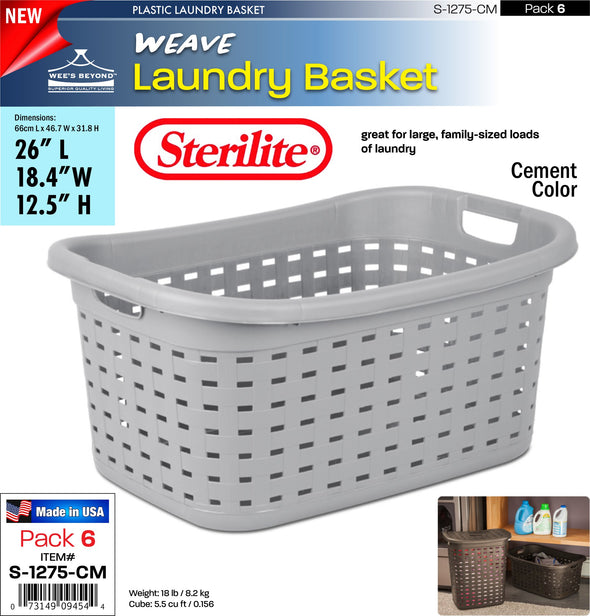 #S-1275-CM Sterilite Plastic Weave Laundry Basket- Cement (case pack 6 pcs)