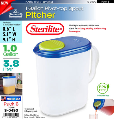 #S-0490 Sterilite Plastic 1 Gallon Pitcher w/Lime Tab (case pack 6 pcs)