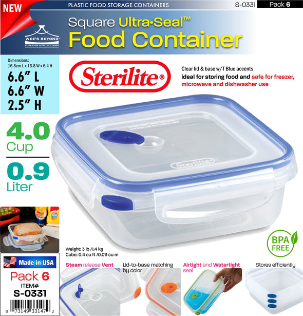 #S-0331 Sterilite Plastic Ultra¥Sealª 4.0 Cup Square (case pack 6 pcs)