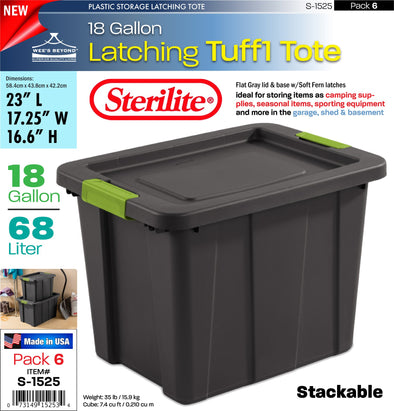 #S-1525 Sterilite Plastic 18 Gallon Latching Tuff1 Tote (case pack 6 pcs)
