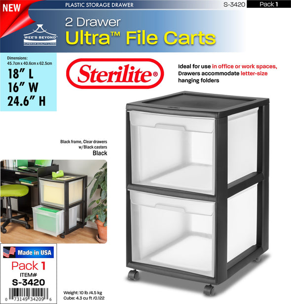 #S-3420 Sterilite Plastic 2 Drawer File Cart