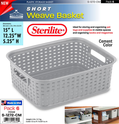 #S-1272-CM Sterilite Plastic Short Weave Basket- Cement (case pack 6 pcs)