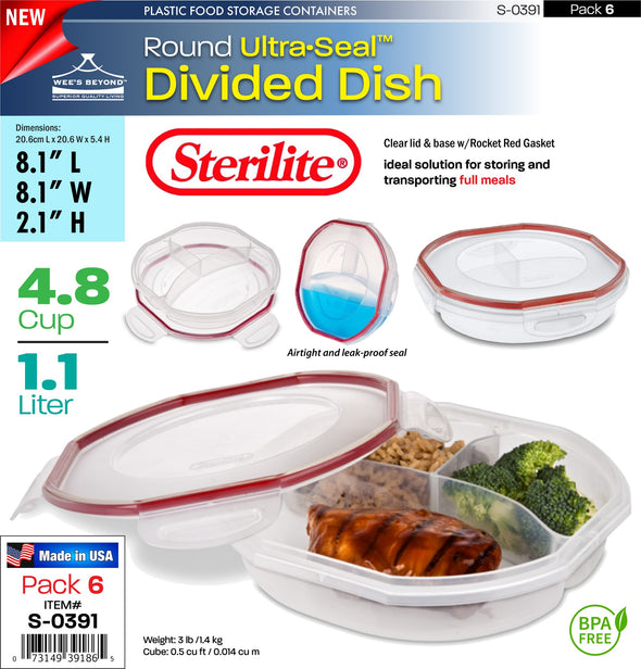 #S-0391 Sterilite Plastic Ultra¥Sealª 4.8 Cup Round Divided Dish (case pack 6 pcs)