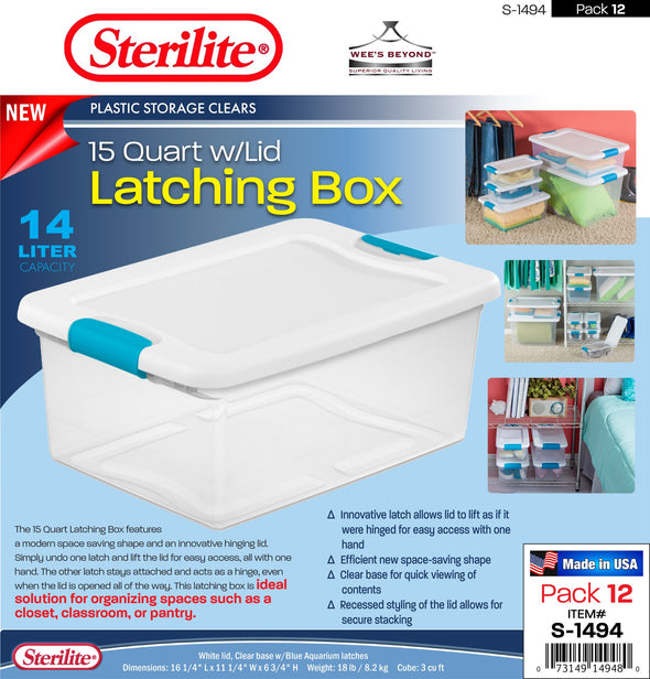 #S-1494 Sterilite Plastic Clear 15 Qt Latching Box w/Lid (case pack 12 pcs)