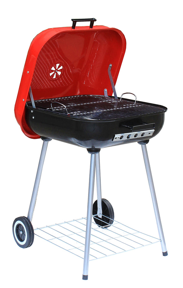 "#9912-18 Wee's Beyond BBQ Charcoal Grill 18"" Square - Red (case pack 1 pc)"