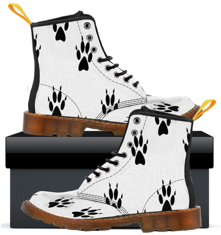 Cat Paw Print  - Womens Canvas Boots