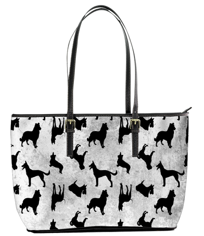 Canvas Tote Bag Dogs Silhouette Print