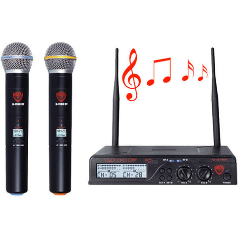 Nady U-2100 HT Dual 100 Channel UHF Handheld Wireless Microphone System