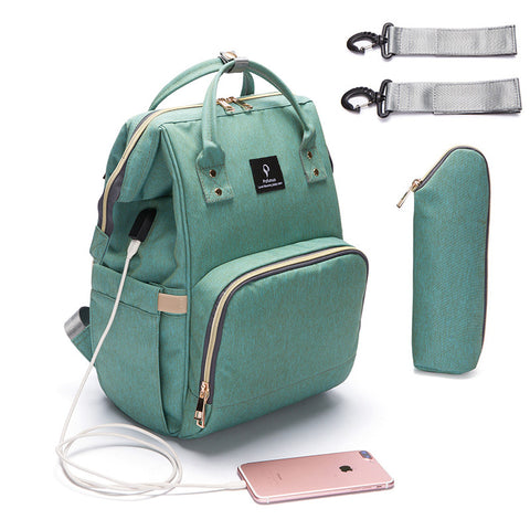 Baby Diaper Bag With USB Interface Large Capacity Waterproof Maternity Backpack